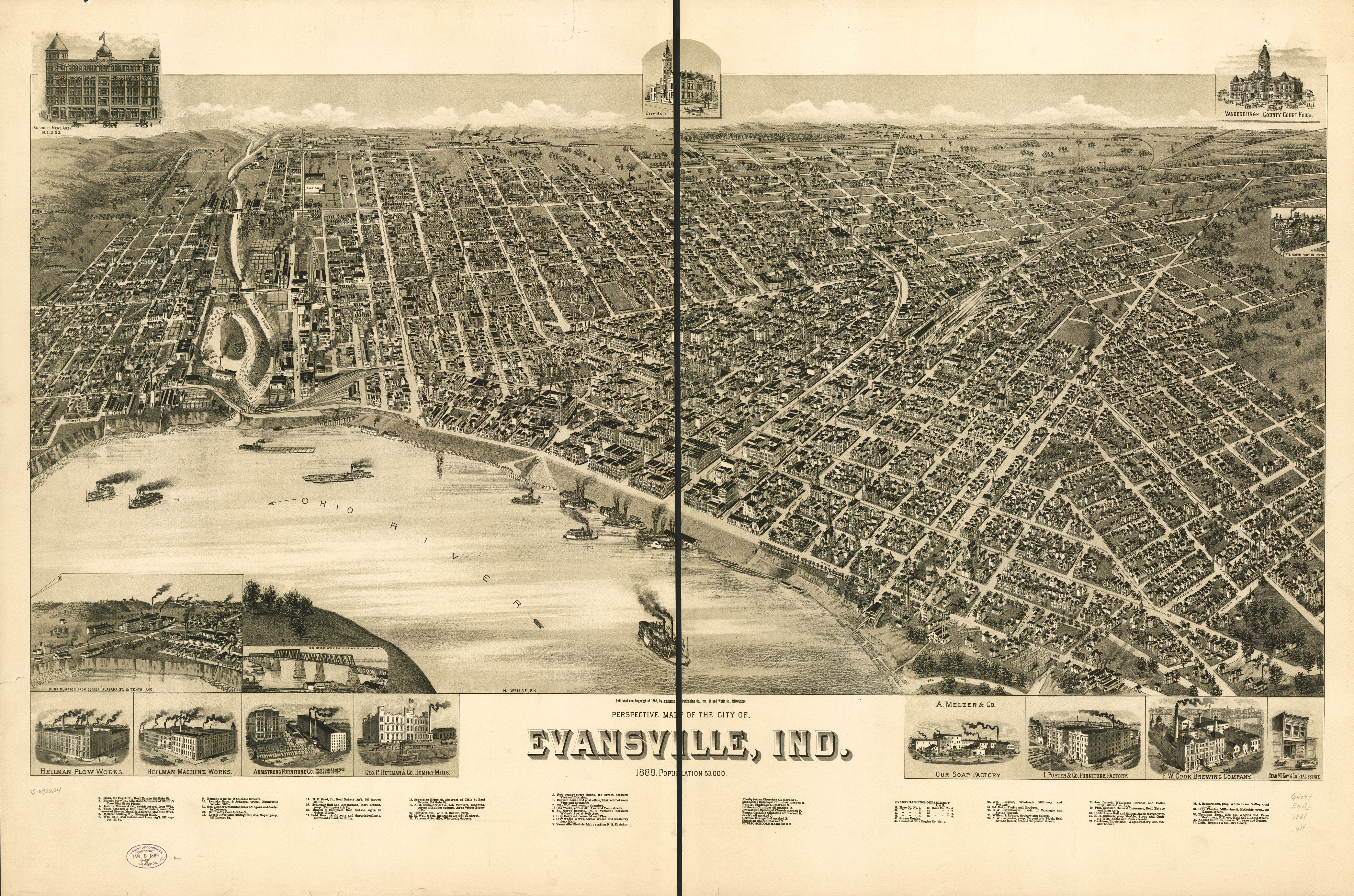 T shirt design evansville indiana - 1888 Map Of Evansville Indiana Founded On The North Side Of A Loop In