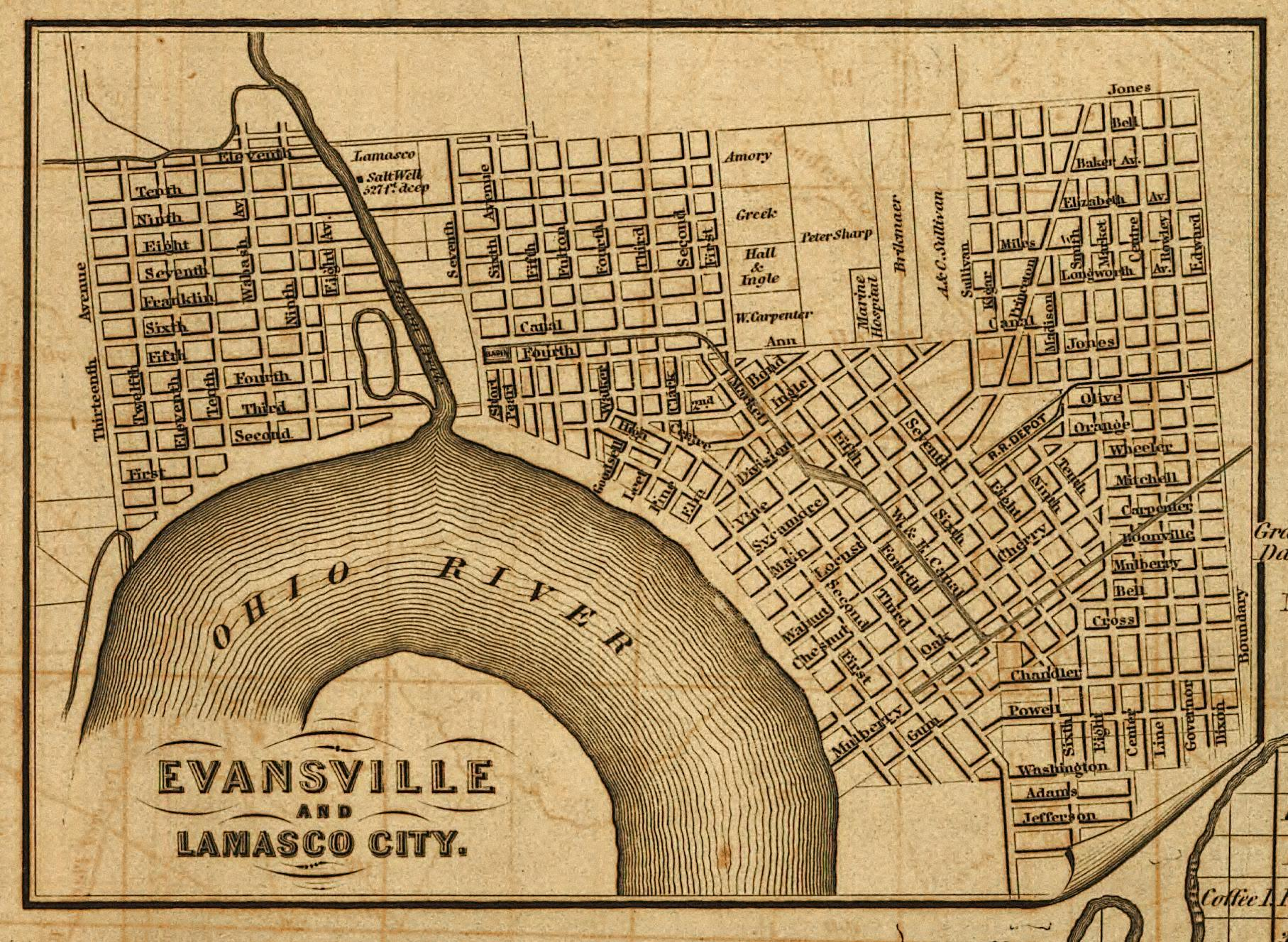 Historic Evansville - Maps on indiana map with latitude and longitude, indiana by county, indiana climate graph, indiana county map ohio, wyoming map showing counties, indiana county map online, indiana map with marion, indiana county map printable, indiana shipshewana map shopping, indiana territory $1 800 map, indiana underground coal mine maps, louisville map ky counties, indianapolis indiana counties, indiana road map, indiana counties by number, indiana counties names, indiana county population growth, map showing indiana counties, indianapolis area map counties, indiana map townships,